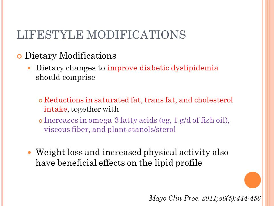 LIFESTYLE MODIFICATIONS Dietary Modifications Dietary changes to improve diabetic dyslipidemia should comprise Reductions in saturated fat, trans fat, and cholesterol intake, together with Increases in omega-3 fatty acids (eg, 1 g/d of fish oil), viscous fiber, and plant stanols/sterol Weight loss and increased physical activity also have beneficial effects on the lipid profile Mayo Clin Proc.