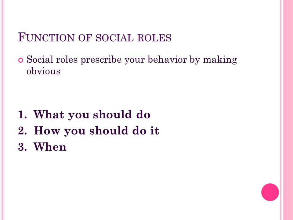 F UNCTION OF SOCIAL ROLES Social roles prescribe your behavior by making obvious 1. What you should do 2. How you should do it 3. When
