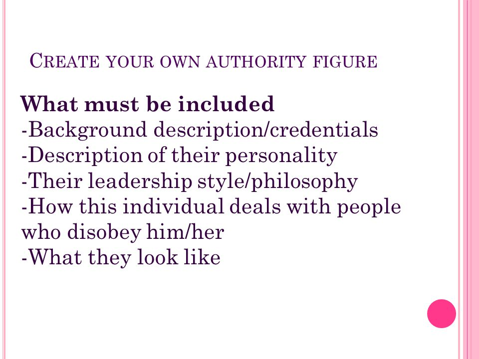 C REATE YOUR OWN AUTHORITY FIGURE What must be included -Background description/credentials -Description of their personality -Their leadership style/