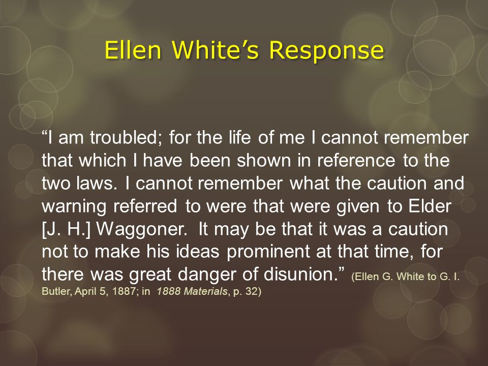 """""""I am troubled; for the life of me I cannot remember that which I have been shown in reference to the two laws. I cannot remember what the caution and"""