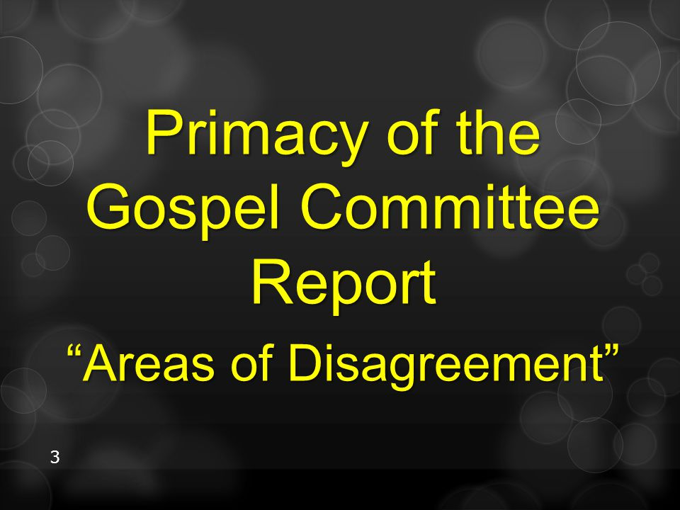 """3 Primacy of the Gospel Committee Report """"Areas of Disagreement"""""""