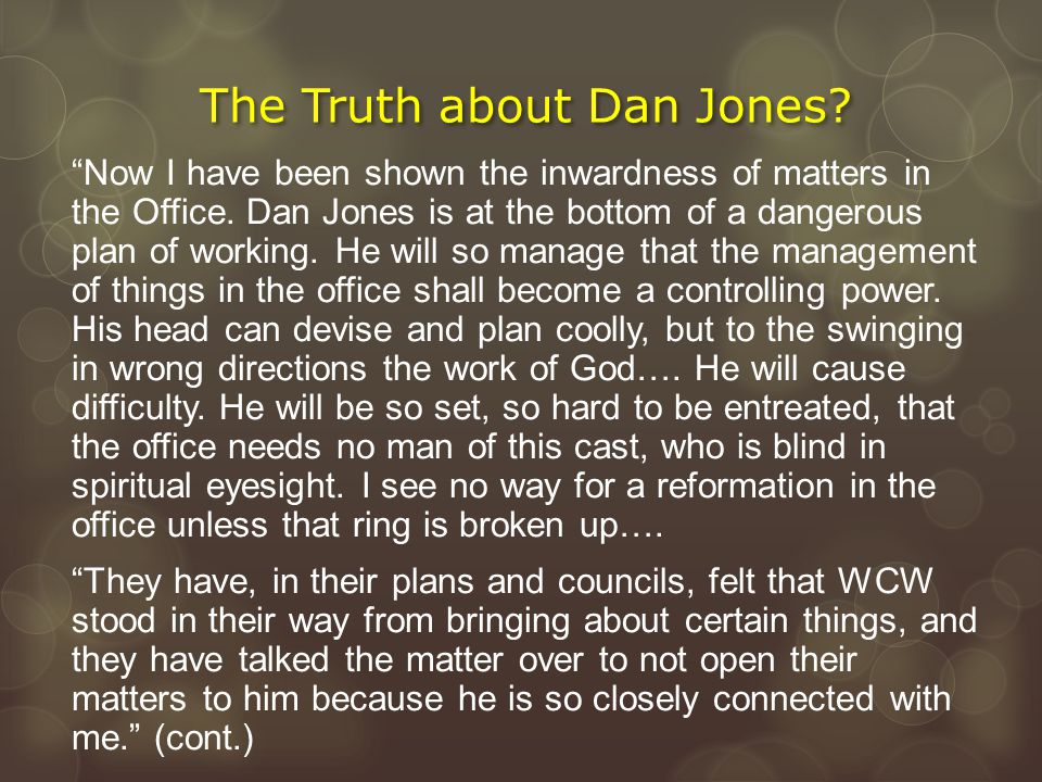 """""""Now I have been shown the inwardness of matters in the Office. Dan Jones is at the bottom of a dangerous plan of working. He will so manage that the"""