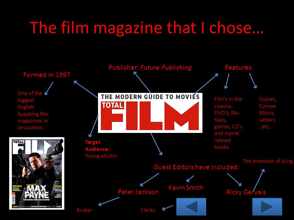 The film magazine that I chose… Formed in 1997 Publisher: Future Publishing Guest Editors have included: Peter Jackson Kevin Smith Ricky Gervais The invention of lying AvatarClerks One of the biggest English Speaking film magazines in circulation.