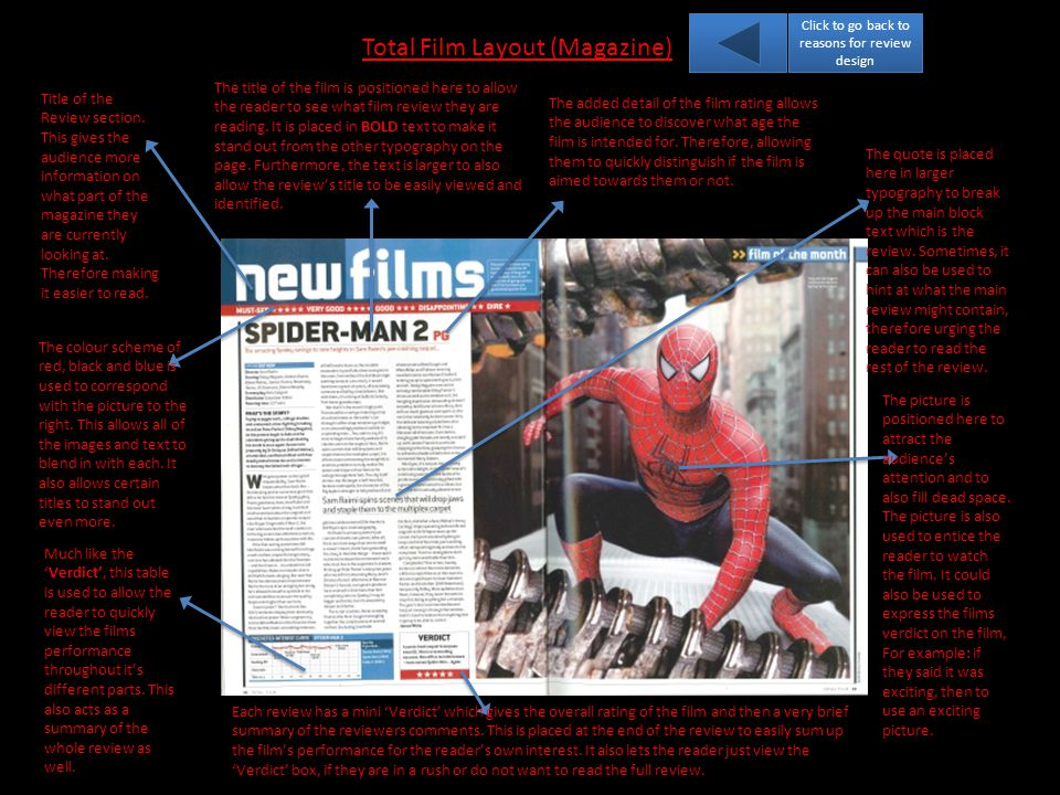 Total Film Layout (Magazine) Title of the Review section.