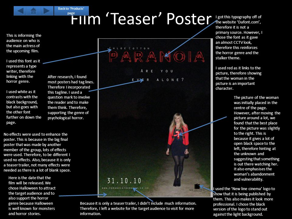 Film 'Teaser' Poster I got this typography off of the website 'Dafont.com', therefore it is not a primary source.