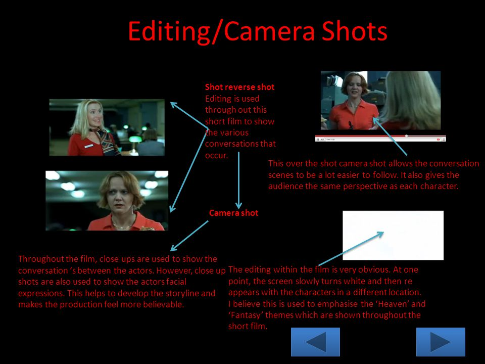 Editing/Camera Shots Shot reverse shot Editing is used through out this short film to show the various conversations that occur.