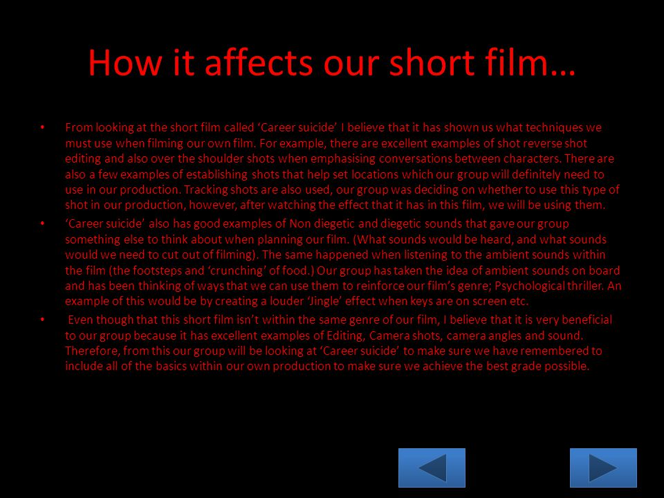 How it affects our short film… From looking at the short film called 'Career suicide' I believe that it has shown us what techniques we must use when filming our own film.