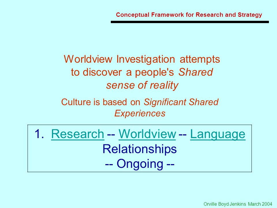 Orville Boyd Jenkins March 2004 Conceptual Framework for Research and Strategy 1.