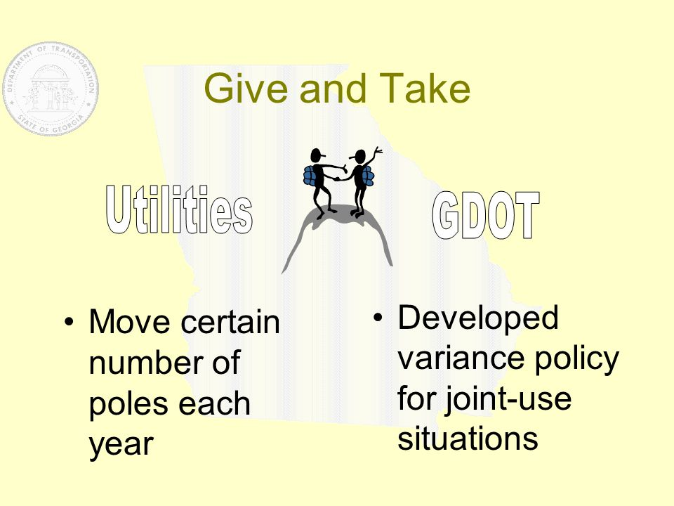 Give and Take Move certain number of poles each year Developed variance policy for joint-use situations