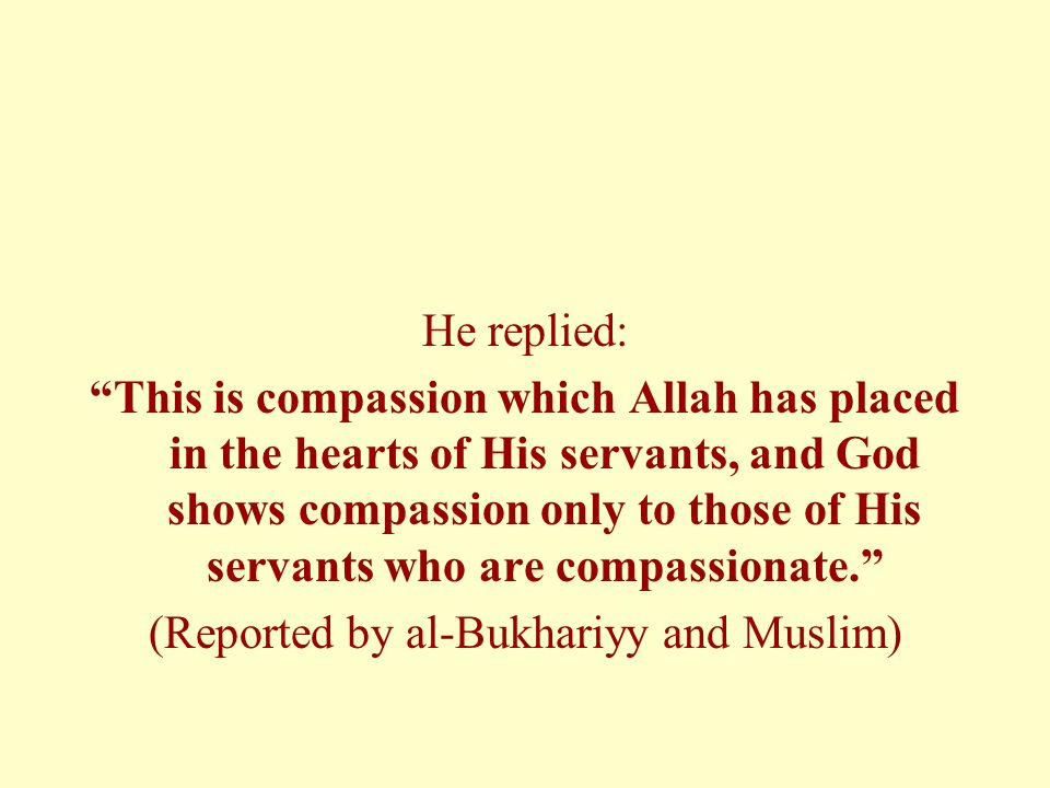 He replied: This is compassion which Allah has placed in the hearts of His servants, and God shows compassion only to those of His servants who are compassionate. (Reported by al-Bukhariyy and Muslim)