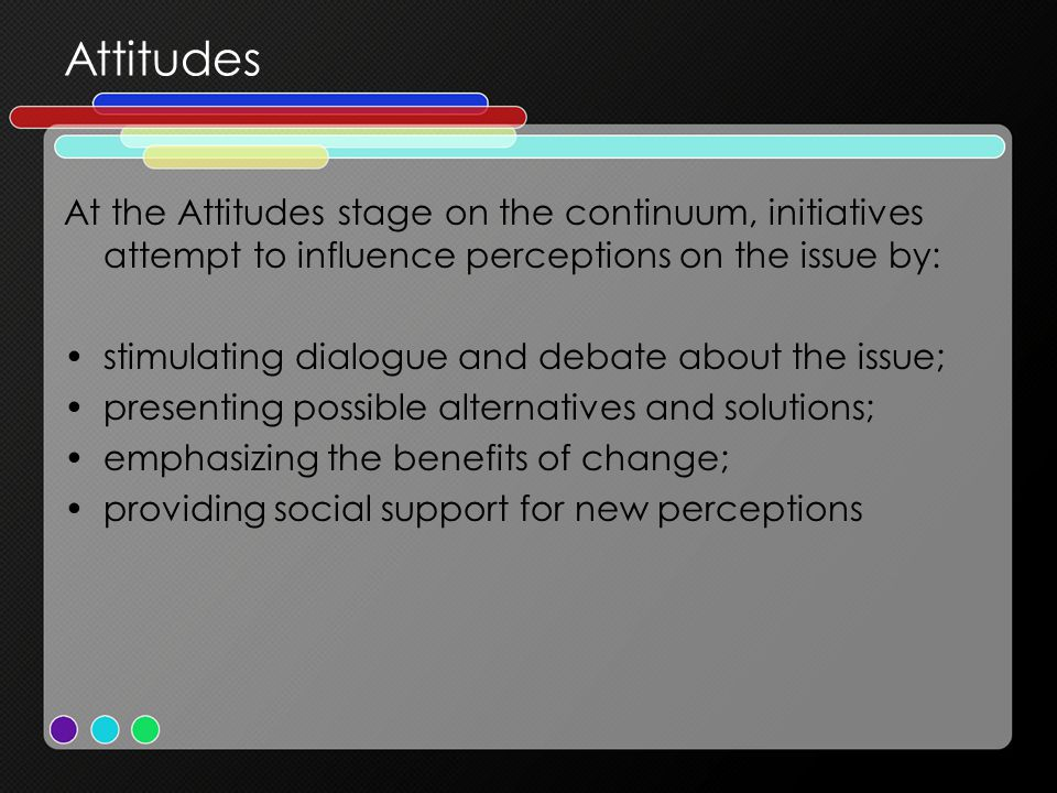 Attitudes At the Attitudes stage on the continuum, initiatives attempt to influence perceptions on the issue by: stimulating dialogue and debate about