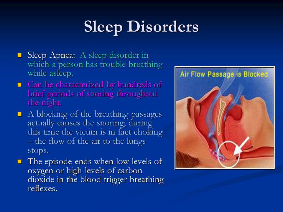 Sleep Disorders Sleep Apnea: A sleep disorder in which a person has trouble breathing while asleep. Sleep Apnea: A sleep disorder in which a person ha