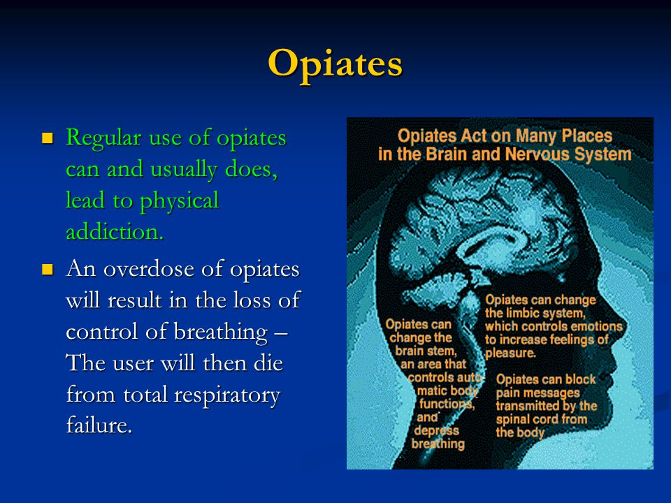Opiates Regular use of opiates can and usually does, lead to physical addiction. Regular use of opiates can and usually does, lead to physical addicti