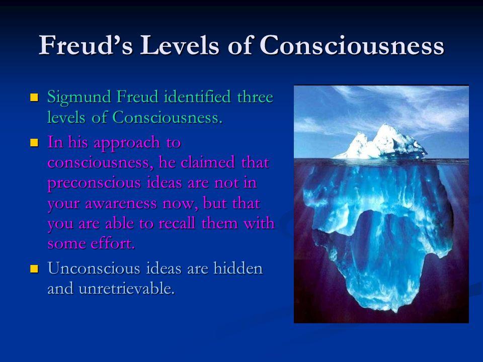 Freud's Levels of Consciousness Sigmund Freud identified three levels of Consciousness. Sigmund Freud identified three levels of Consciousness. In his