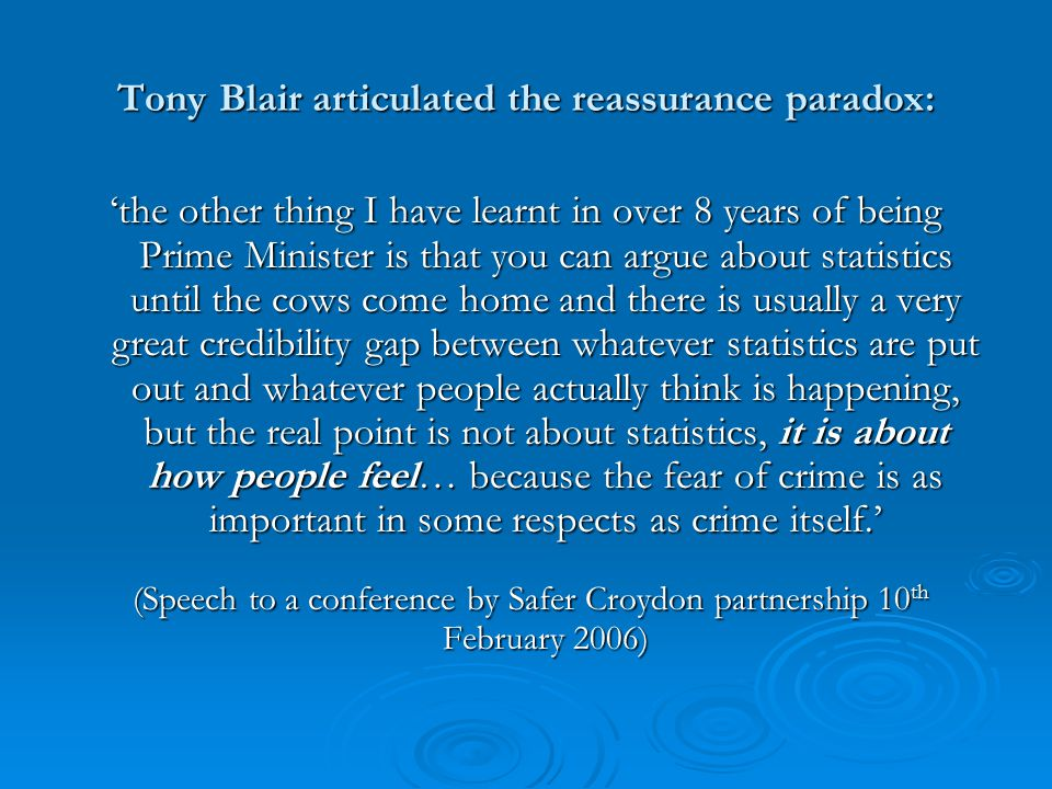 Tony Blair articulated the reassurance paradox: 'the other thing I have learnt in over 8 years of being Prime Minister is that you can argue about statistics until the cows come home and there is usually a very great credibility gap between whatever statistics are put out and whatever people actually think is happening, but the real point is not about statistics, it is about how people feel… because the fear of crime is as important in some respects as crime itself.' (Speech to a conference by Safer Croydon partnership 10 th February 2006) (Speech to a conference by Safer Croydon partnership 10 th February 2006)