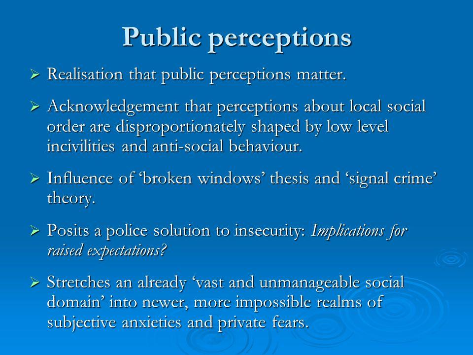 Public perceptions  Realisation that public perceptions matter.