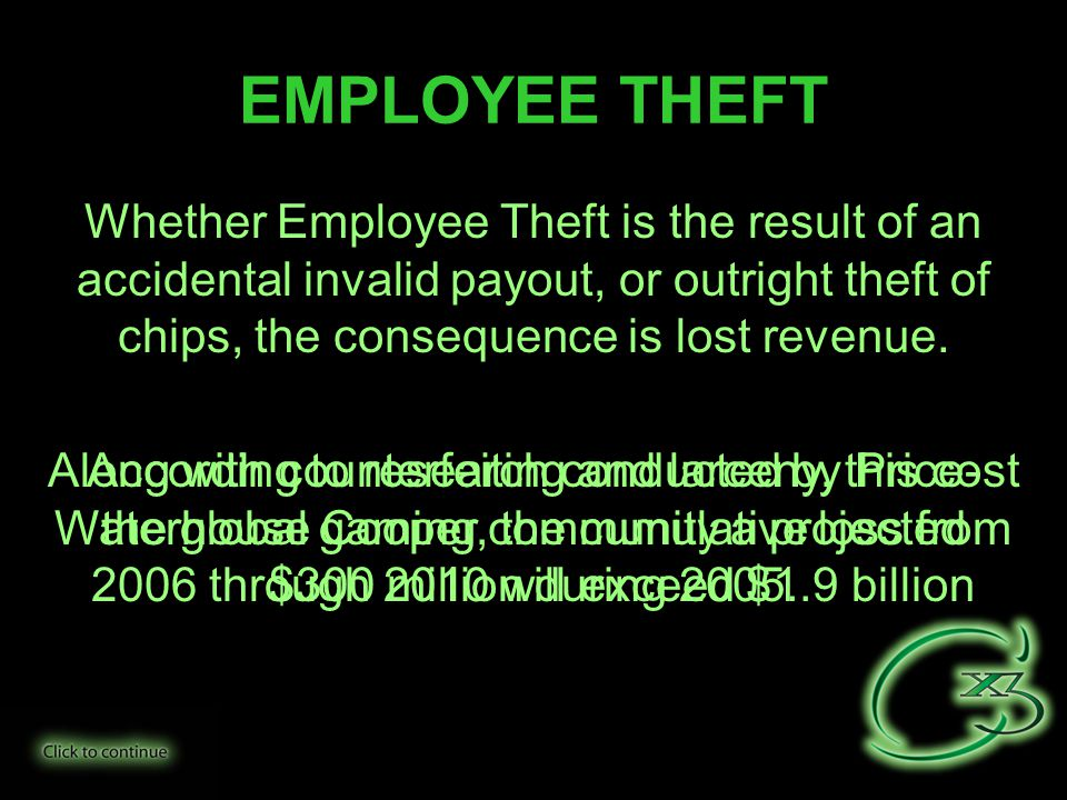 Whether Employee Theft is the result of an accidental invalid payout, or outright theft of chips, the consequence is lost revenue.