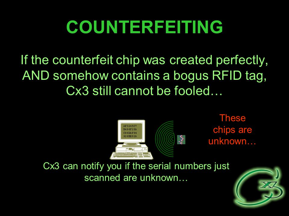 COUNTERFEITING If the counterfeit chip was created perfectly, AND somehow contains a bogus RFID tag, Cx3 still cannot be fooled… AF3245C7 B496F28A C96DAF84 926BE82A Cx3 can notify you if the serial numbers just scanned are unknown… These chips are unknown…