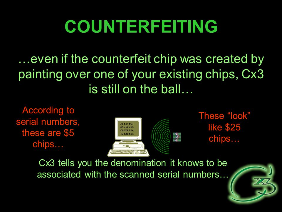 COUNTERFEITING …even if the counterfeit chip was created by painting over one of your existing chips, Cx3 is still on the ball… AF3245C7 B496F28A C96DAF84 926BE82A Cx3 tells you the denomination it knows to be associated with the scanned serial numbers… Thee look like $25 chips… These are really $5 chips… These look like $25 chips… According to serial numbers, these are $5 chips…