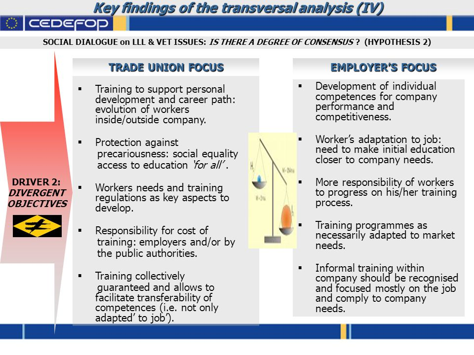 Key findings of the transversal analysis (IV)  Training to support personal development and career path: evolution of workers inside/outside company.