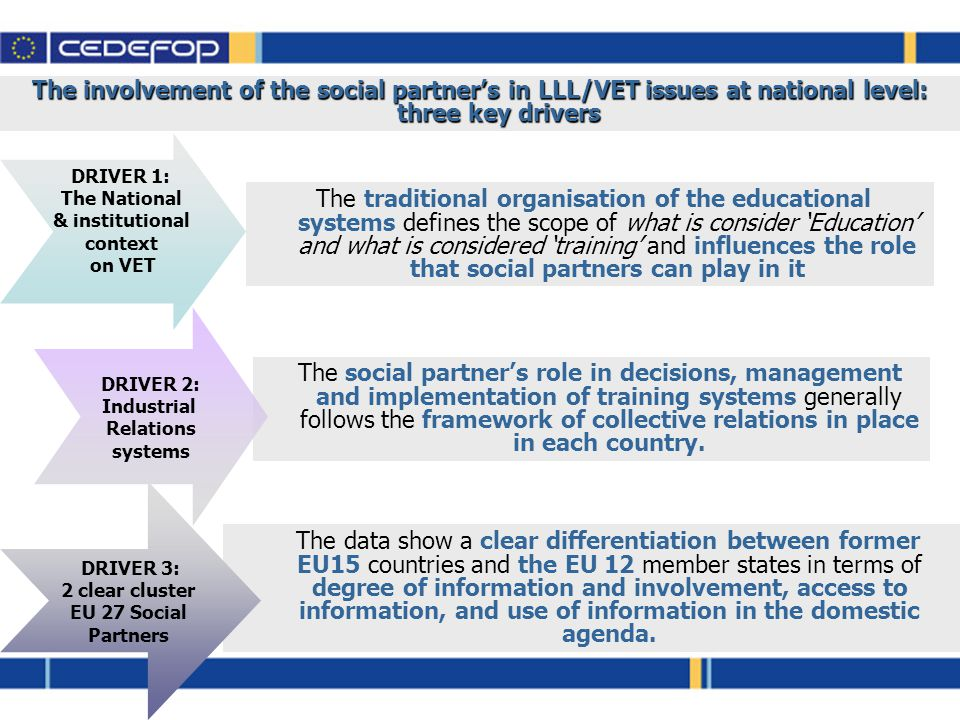 The involvement of the social partner's in LLL/VET issues at national level: three key drivers The traditional organisation of the educational systems defines the scope of what is consider 'Education' and what is considered 'training' and influences the role that social partners can play in it The data show a clear differentiation between former EU15 countries and the EU 12 member states in terms of degree of information and involvement, access to information, and use of information in the domestic agenda.
