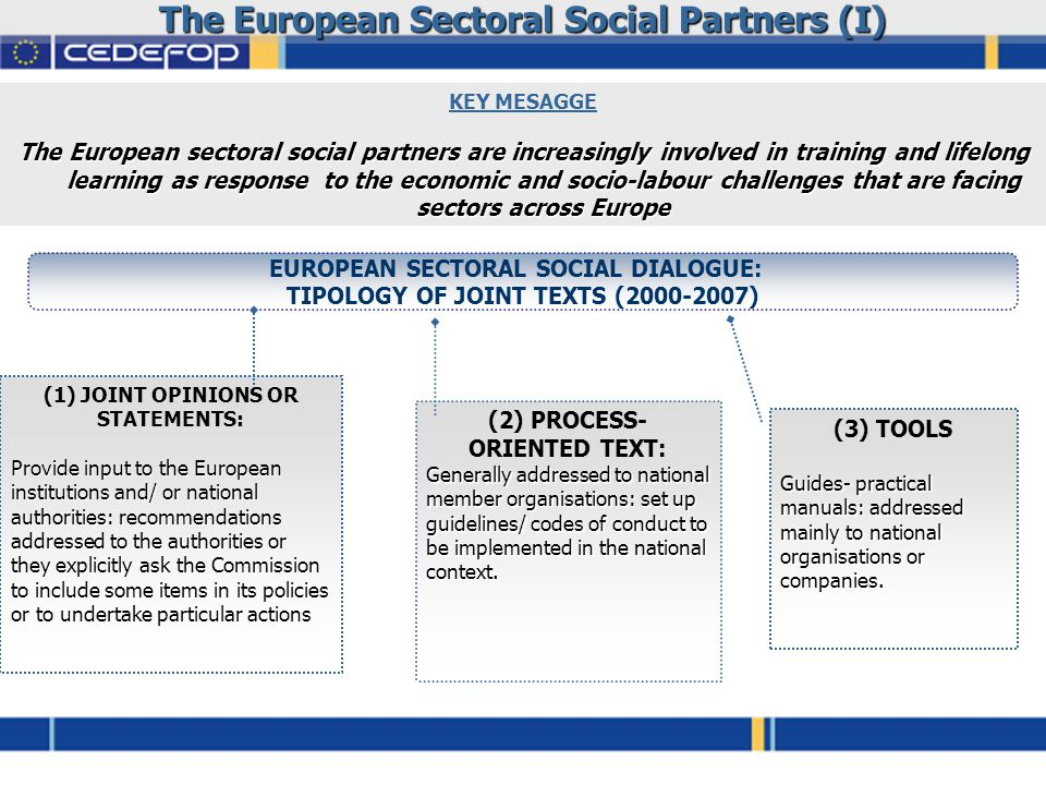 The European Sectoral Social Partners (I) KEY MESAGGE The European sectoral social partners are increasingly involved in training and lifelong learning as response to the economic and socio-labour challenges that are facing sectors across Europe EUROPEAN SECTORAL SOCIAL DIALOGUE: TIPOLOGY OF JOINT TEXTS (2000-2007) (1) JOINT OPINIONS OR STATEMENTS: Provide input to the European institutions and/ or national authorities: recommendations addressed to the authorities or they explicitly ask the Commission to include some items in its policies or to undertake particular actions (2) PROCESS- ORIENTED TEXT: Generally addressed to national member organisations: set up guidelines/ codes of conduct to be implemented in the national context.