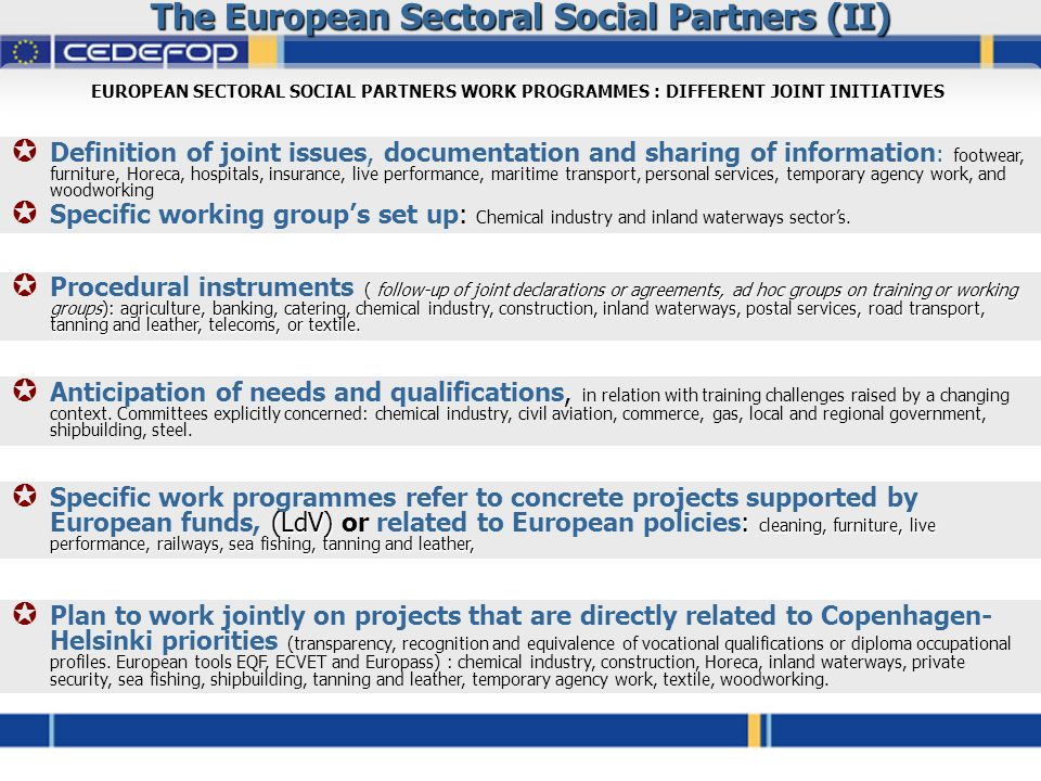The European Sectoral Social Partners (II) EUROPEAN SECTORAL SOCIAL PARTNERS WORK PROGRAMMES : DIFFERENT JOINT INITIATIVES  Definition of joint issues, documentation and sharing of information : footwear, furniture, Horeca, hospitals, insurance, live performance, maritime transport, personal services, temporary agency work, and woodworking  Specific working group's set up: Chemical industry and inland waterways sector's.