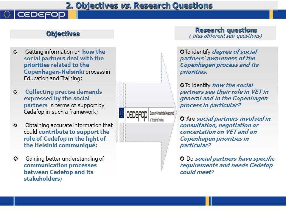 2. Objectives vs.