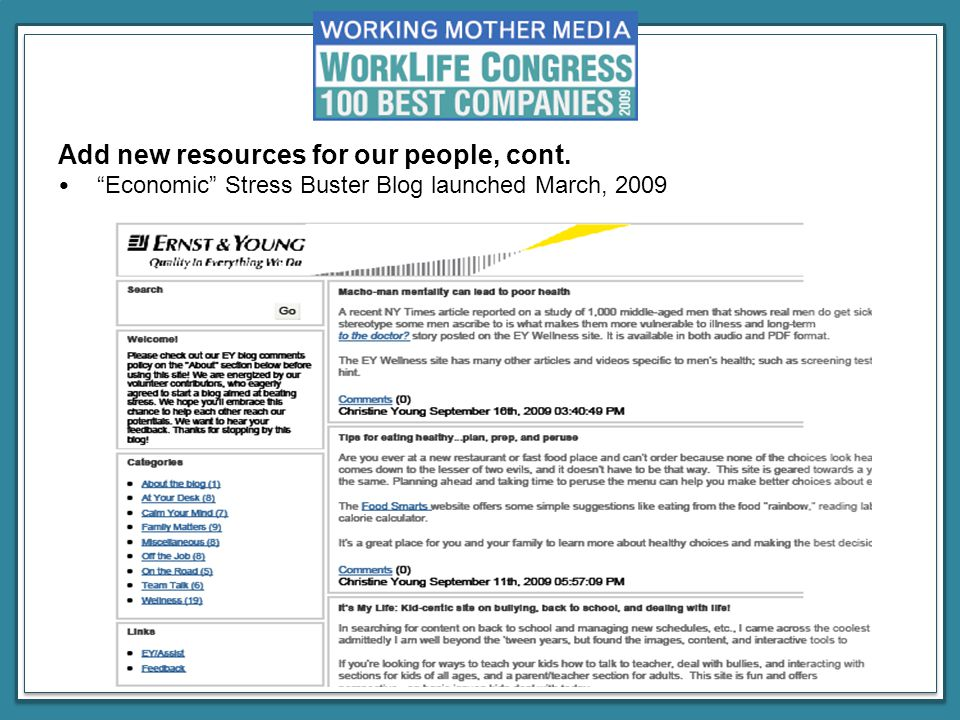 Add new resources for our people, cont. Economic Stress Buster Blog launched March, 2009
