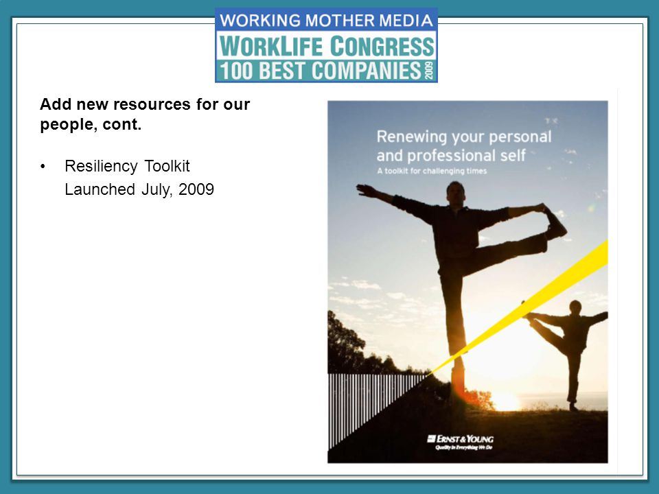 Resiliency Toolkit Launched July, 2009 Add new resources for our people, cont.