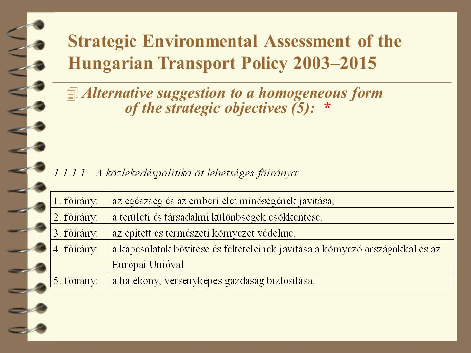 4 Alternative suggestion to a homogeneous form of the strategic objectives (5): * Strategic Environmental Assessment of the Hungarian Transport Policy 2003–2015