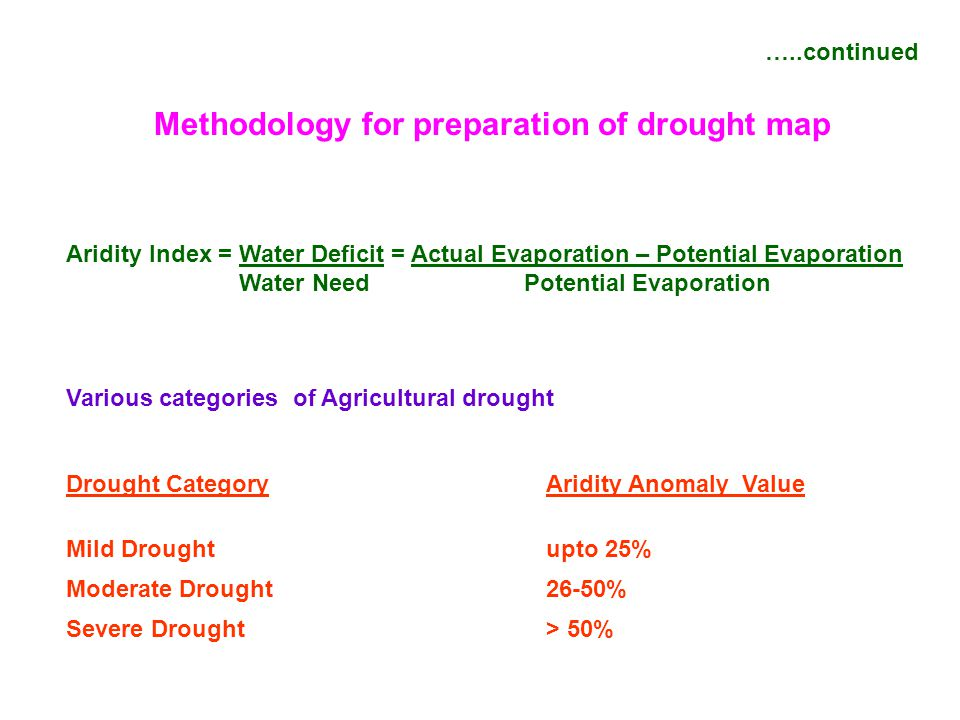…..continued Methodology for preparation of drought map Aridity Index = Water Deficit = Actual Evaporation – Potential Evaporation Water Need Potentia