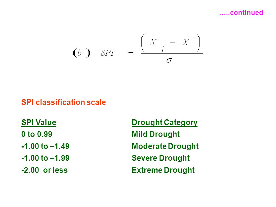 SPI classification scale SPI ValueDrought Category 0 to 0.99Mild Drought -1.00 to –1.49Moderate Drought -1.00 to –1.99Severe Drought -2.00 or lessExtr