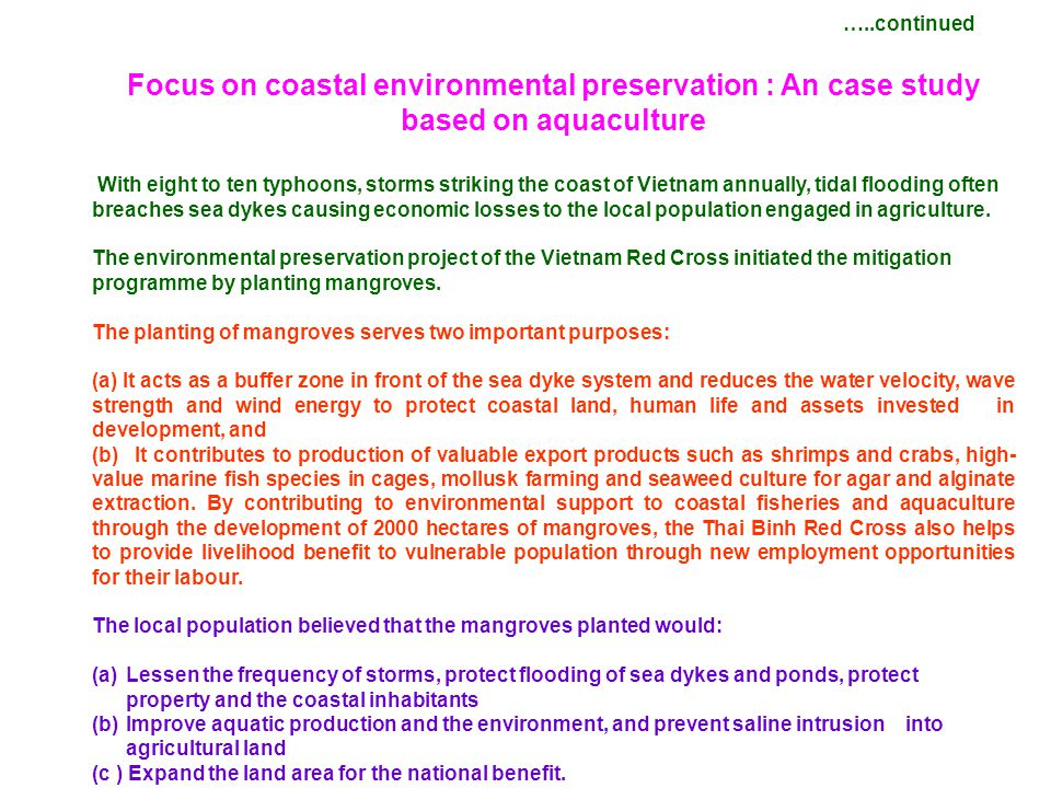 Focus on coastal environmental preservation : An case study based on aquaculture With eight to ten typhoons, storms striking the coast of Vietnam annu