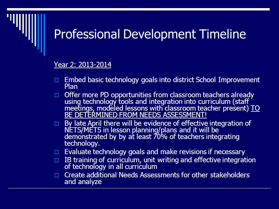 Professional Development Timeline Year 2: 2013-2014  Embed basic technology goals into district School Improvement Plan  Offer more PD opportunities from classroom teachers already using technology tools and integration into curriculum (staff meetings, modeled lessons with classroom teacher present) TO BE DETERMINED FROM NEEDS ASSESSMENT.