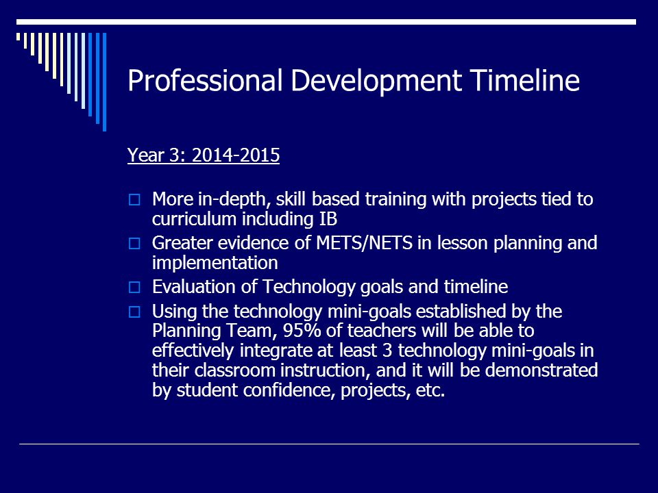 Professional Development Timeline Year 3: 2014-2015  More in-depth, skill based training with projects tied to curriculum including IB  Greater evidence of METS/NETS in lesson planning and implementation  Evaluation of Technology goals and timeline  Using the technology mini-goals established by the Planning Team, 95% of teachers will be able to effectively integrate at least 3 technology mini-goals in their classroom instruction, and it will be demonstrated by student confidence, projects, etc.