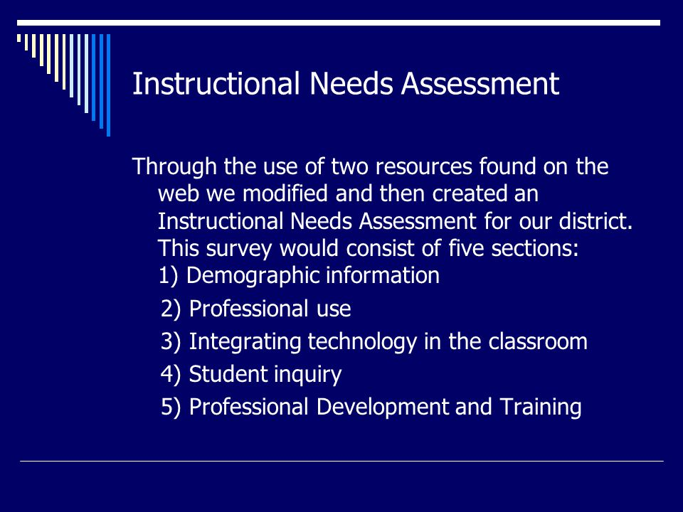 Examples of Needs Assessment ?'s Professional Use:  I can use a variety of technologies to support multiple curriculum areas (use overhead projection devices for math/science and scientific calculator to graph algebraic equations).