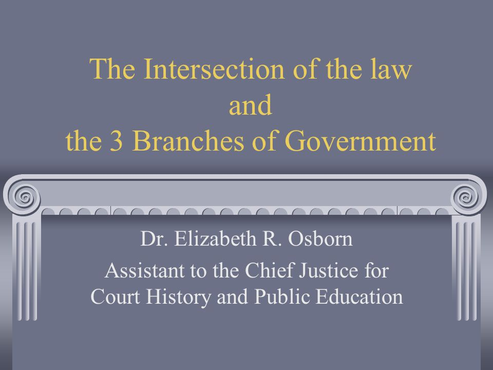 The Intersection of the law and the 3 Branches of Government Dr.