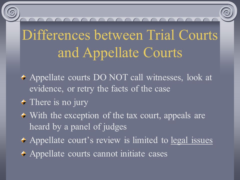 Differences between Trial Courts and Appellate Courts Appellate courts DO NOT call witnesses, look at evidence, or retry the facts of the case There is no jury With the exception of the tax court, appeals are heard by a panel of judges Appellate court's review is limited to legal issues Appellate courts cannot initiate cases