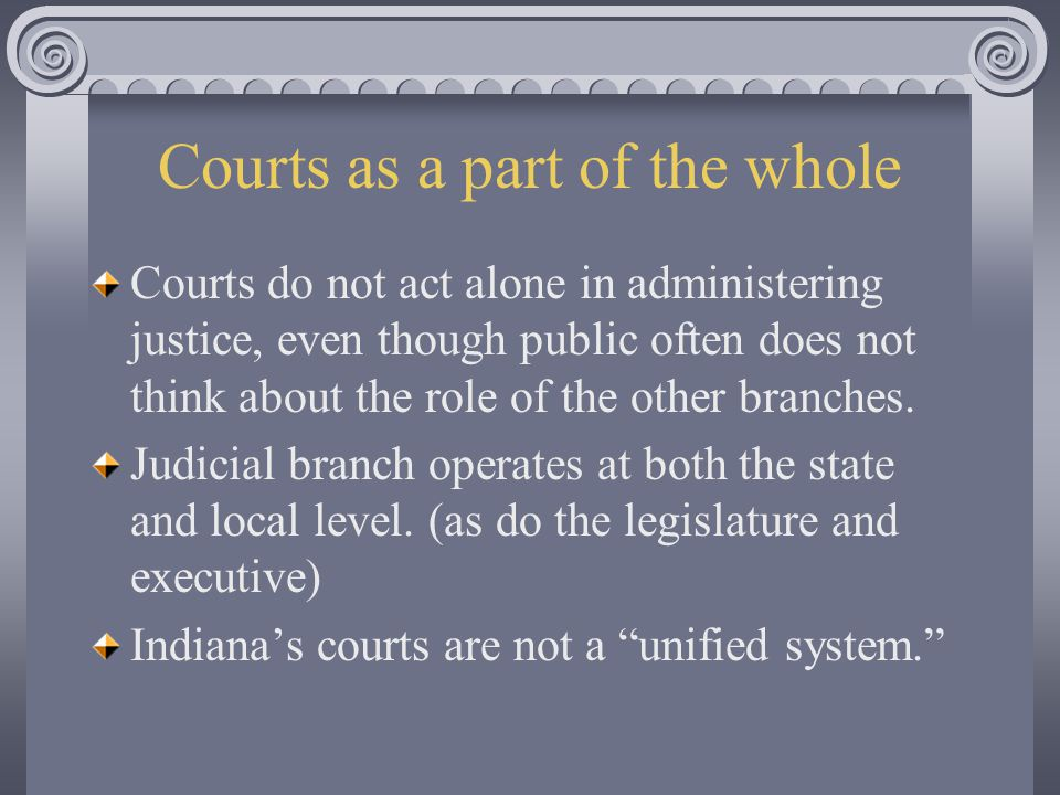Courts as a part of the whole Courts do not act alone in administering justice, even though public often does not think about the role of the other branches.