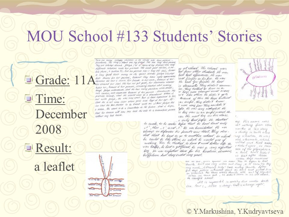 MOU School #133 Students' Stories Grade: 11A Time: December 2008 Result: a leaflet © Y.Markushina, Y.Kudryavtseva