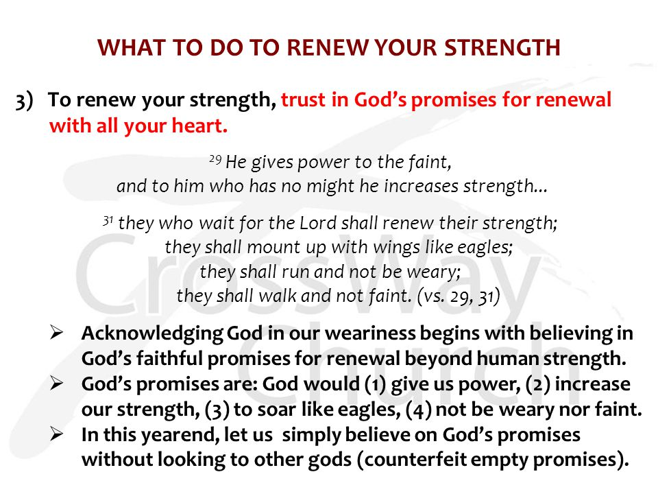 WHAT TO DO TO RENEW YOUR STRENGTH 3) To renew your strength, trust in God's promises for renewal with all your heart.