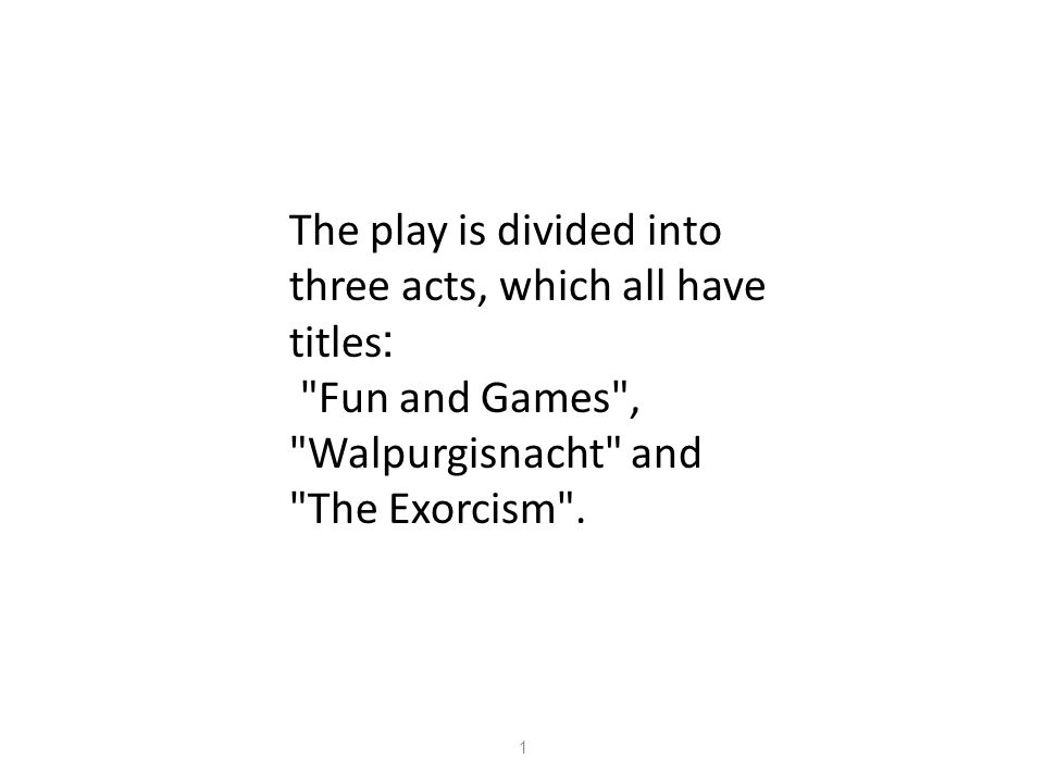 The play is divided into three acts, which all have :titles