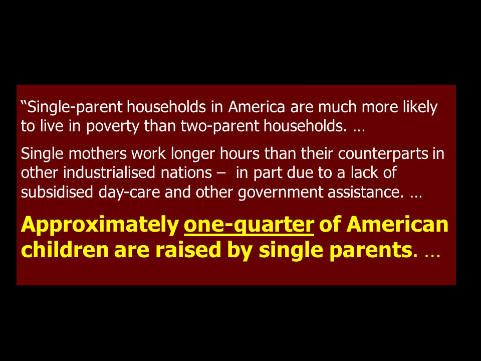 Single-parent households in America are much more likely to live in poverty than two-parent households.