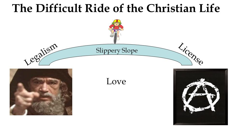 The Difficult Ride of the Christian Life Slippery Slope Legalism License Love