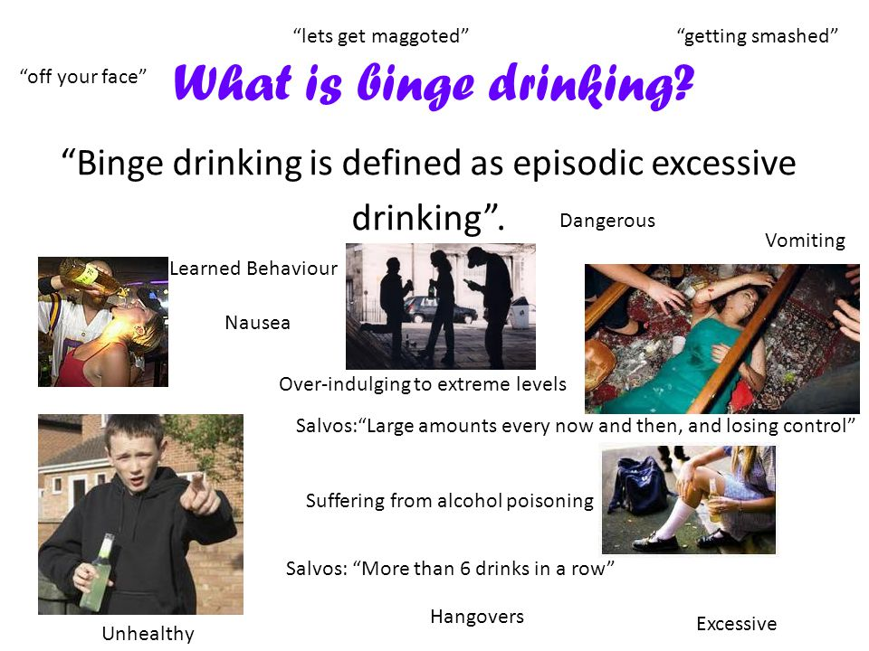 What is binge drinking. Binge drinking is defined as episodic excessive drinking .