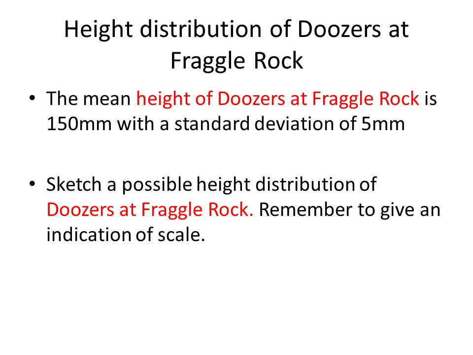 Height distribution of Doozers at Fraggle Rock The mean height of Doozers at Fraggle Rock is 150mm with a standard deviation of 5mm Sketch a possible height distribution of Doozers at Fraggle Rock.