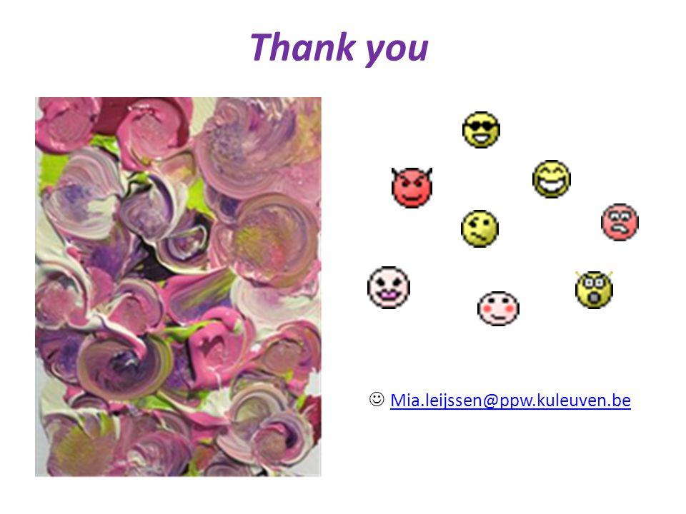 Thank you Mia.leijssen@ppw.kuleuven.be