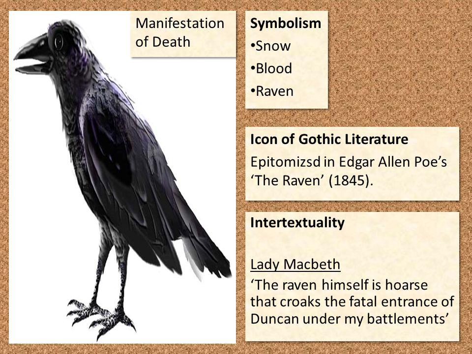 Symbolism Snow Blood Raven Symbolism Snow Blood Raven Icon of Gothic Literature Epitomizsd in Edgar Allen Poe's 'The Raven' (1845). Icon of Gothic Lit