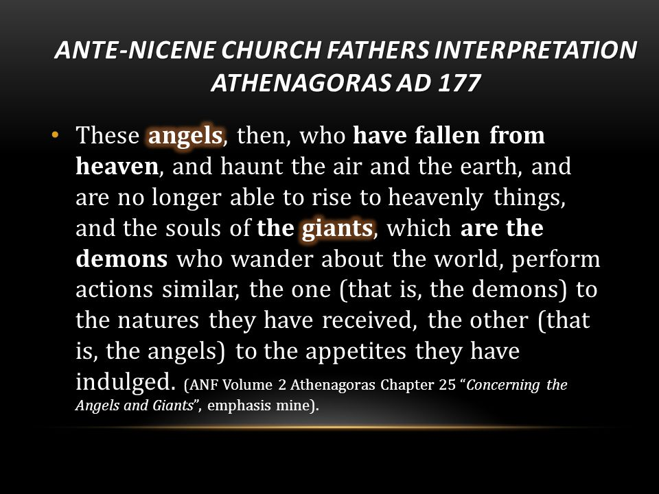 ANTE-NICENE CHURCH FATHERS INTERPRETATION ATHENAGORAS AD 177